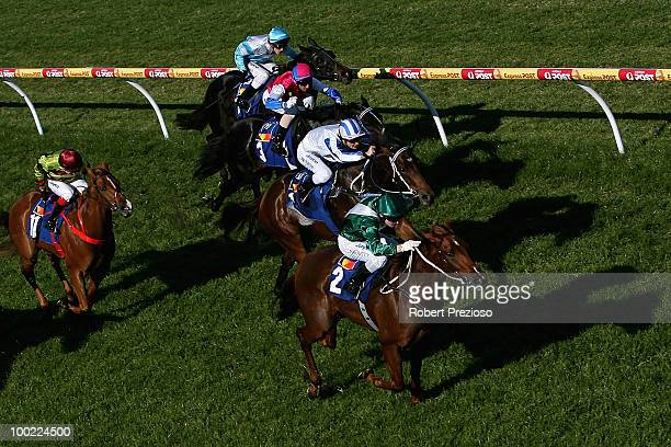 Craig Newitt riding Dubleanny leads the field to win race Three Sportsbetcomau Thing during Taralye Foundation Race Day at Caulfield Racecourse on...