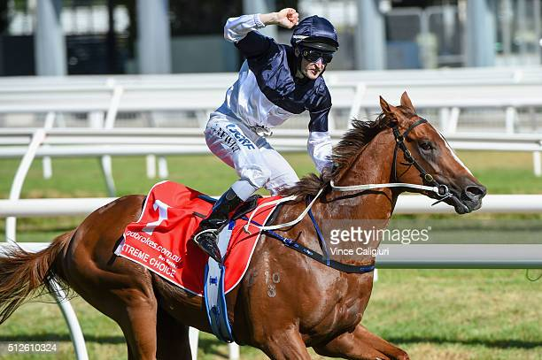 Craig Newitt riding Extreme Choice winning Race 7 Ladbrokes Blue Diamond Stakes during Melbourne Racing at Caulfield Racecourse on February 27 2016...