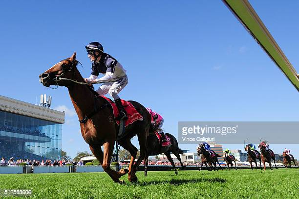 Craig Newitt riding Extreme Choice wins Race 7 Ladbrokes Blue Diamond Stakes during Melbourne Racing at Caulfield Racecourse on February 27 2016 in...