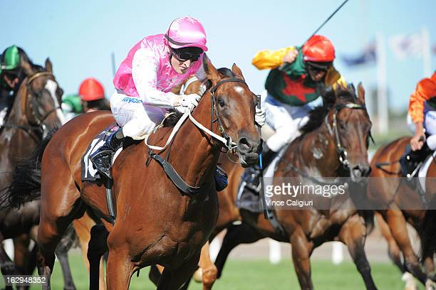 Craig Newitt riding Isabella Snowflake wins the ATA/Bob Hoysted Handicap during Melbourne Racing at Flemington Racecourse on March 2 2013 in...