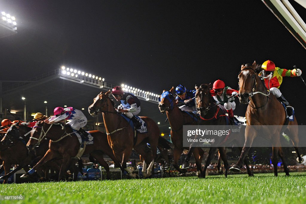 Craig Newitt riding Lankan Rupee (R) is first past the post before correct weight (protest pending) in Race 7, the Sportingbet Manikato Stakes during Manikato Stakes Night at Moonee Valley Racecourse on October 24, 2014 in Melbourne, Australia.