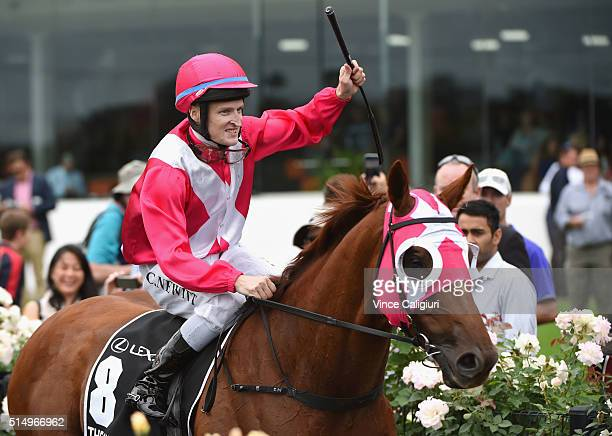 Craig Newitt riding The Quarterback after winning Race 6 Lexus Newmarket Handicap during Melbourne Racing at Flemington Racecourse on March 12 2016...