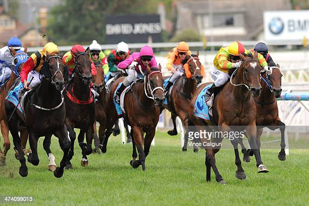 Craig Newitt winning aboard Lankan Rupee in Race 8 the Sportingbet Oakleigh Plate during Blue Diamond Stakes Day at Caulfield Racecourse on February...