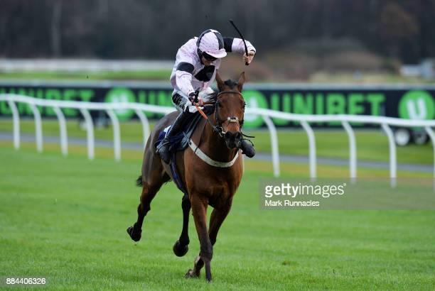 Craig Nichol riding Coole Hall races for the finish line ahead of winning the Weatherbys Racing Bank 'The French Furze' Novice Hurdle Race at...