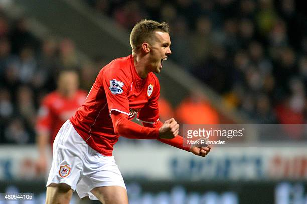 Craig Noone of Cardiff celebrates after scoring a goal to level the scores at 1-1 during the Budweiser FA Cup third round match between Newcastle...