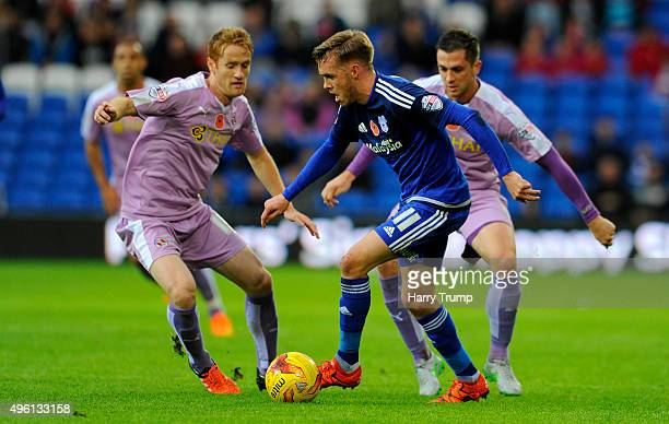 Craig Noone of Cardiff City is tackled by Alex Fernandez of Reading during the Sky Bet Championship match between Cardiff City and Reading at the...