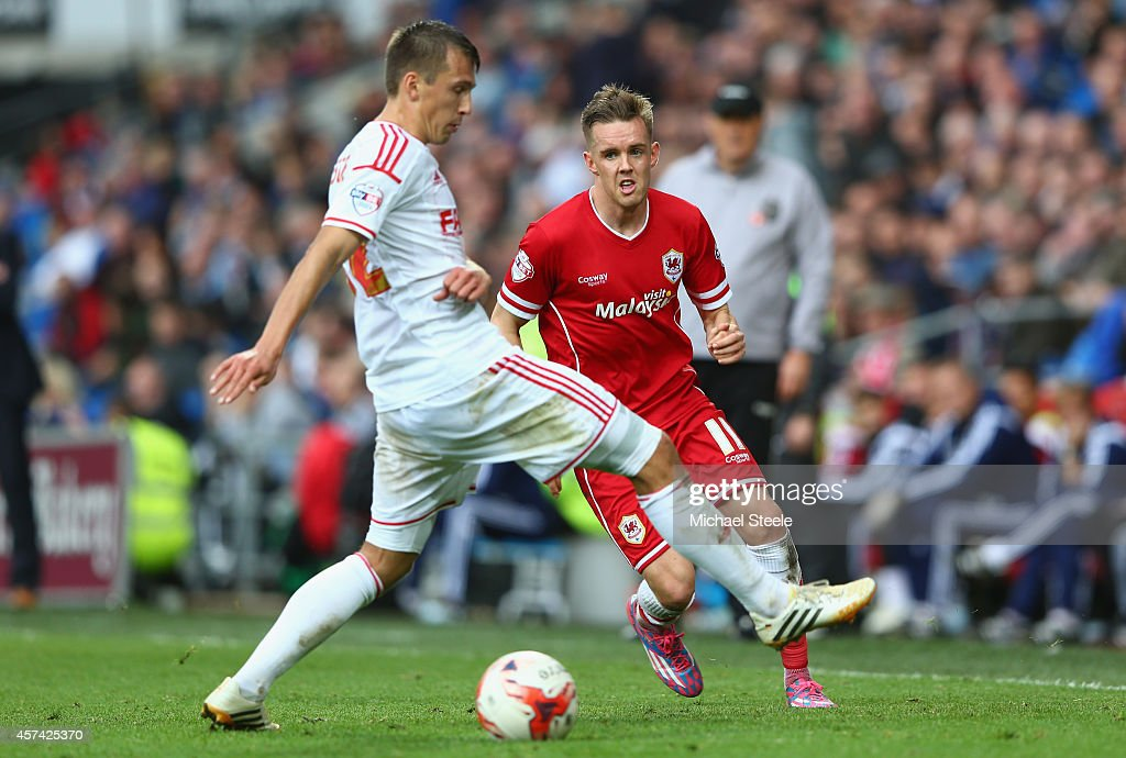 Craig Noone (R) of Cardiff City threads a ball past Eric Lichaj (L) of Nottingham Forest (out of frame) off the line during the Sky Bet Championship match between Cardiff City and Nottingham Forest at Cardiff City Stadium on October 18, 2014 in Cardiff, Wales.