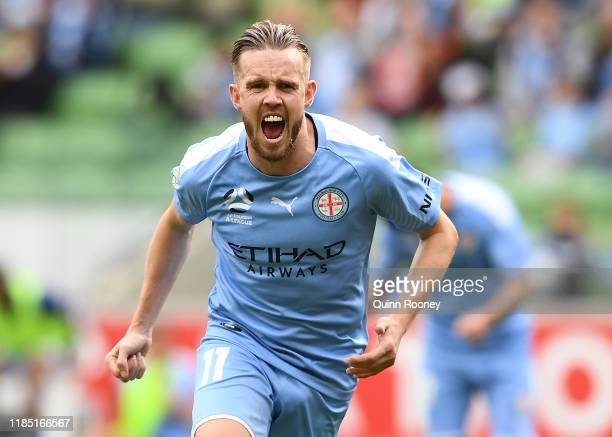 Craig Noone of Melbourne City celebrates after scoring a goal during the round four ALeague match between Melbourne City and the Wellington Phoenix...