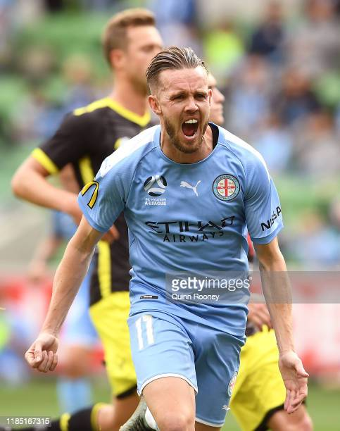 Craig Noone of Melbourne City celebrates after scoring a goal during the round four A-League match between Melbourne City and the Wellington Phoenix...