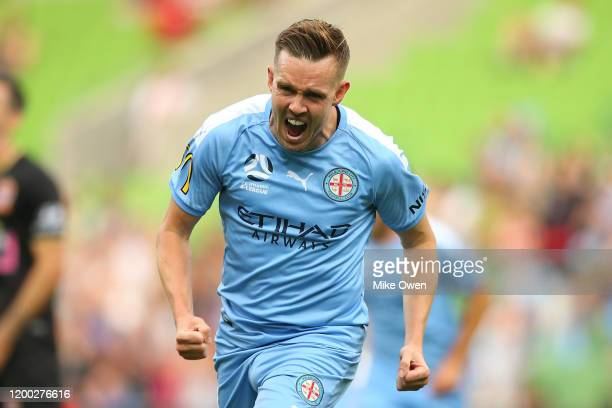 Craig Noone of Melbourne City celebrates after scoring a goal during the round 15 ALeague match between Melbourne City and the Newcastle Jets at AAMI...