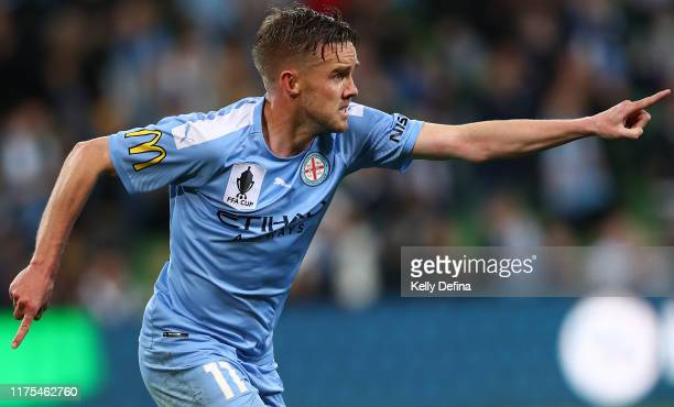 Craig Noone of Melbourne City celebrates his goal during the FFA Cup 2019 Quarter Finals match between Melbourne City FC and Western Sydney Wanderers...