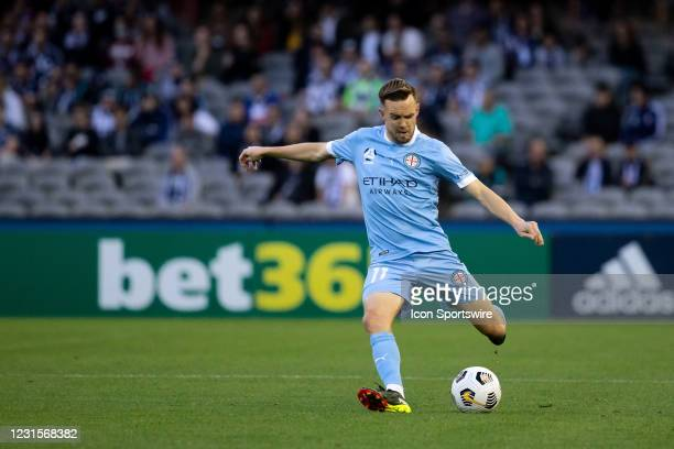 Craig Noone of Melbourne City kicks the ball during the Hyundai A-League soccer match between Melbourne Victory and Melbourne City FC on March 06,...