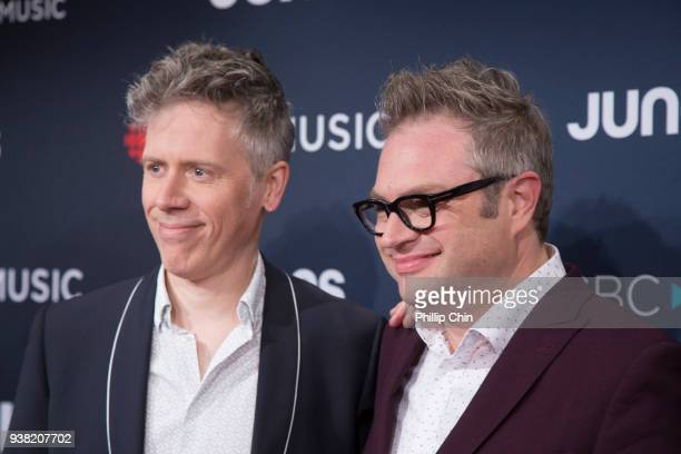 Craig Northey and Steven Page attend the red carpet arrivals at the 2018 Juno Awards at Rogers Arena on March 25 2018 in Vancouver Canada