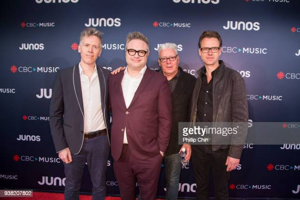 Craig Northey Steven Page and Kevin Fox attend the red carpet arrivals at the 2018 Juno Awards at Rogers Arena on March 25 2018 in Vancouver Canada