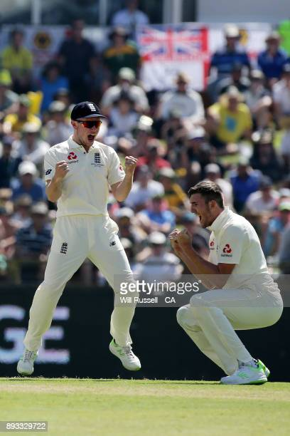 Craig Overton of England celebrates after taking the wicket of Cameron Bancroft of Australia during day two of the Third Test match during the...