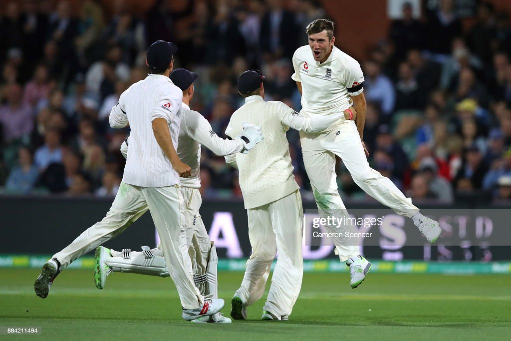 Craig Overton of England celebrates dismissing Steve Smith of Australia during day one of the Second Test match during the 2017/18 Ashes Series between Australia and England at Adelaide Oval on December 2, 2017 in Adelaide, Australia.