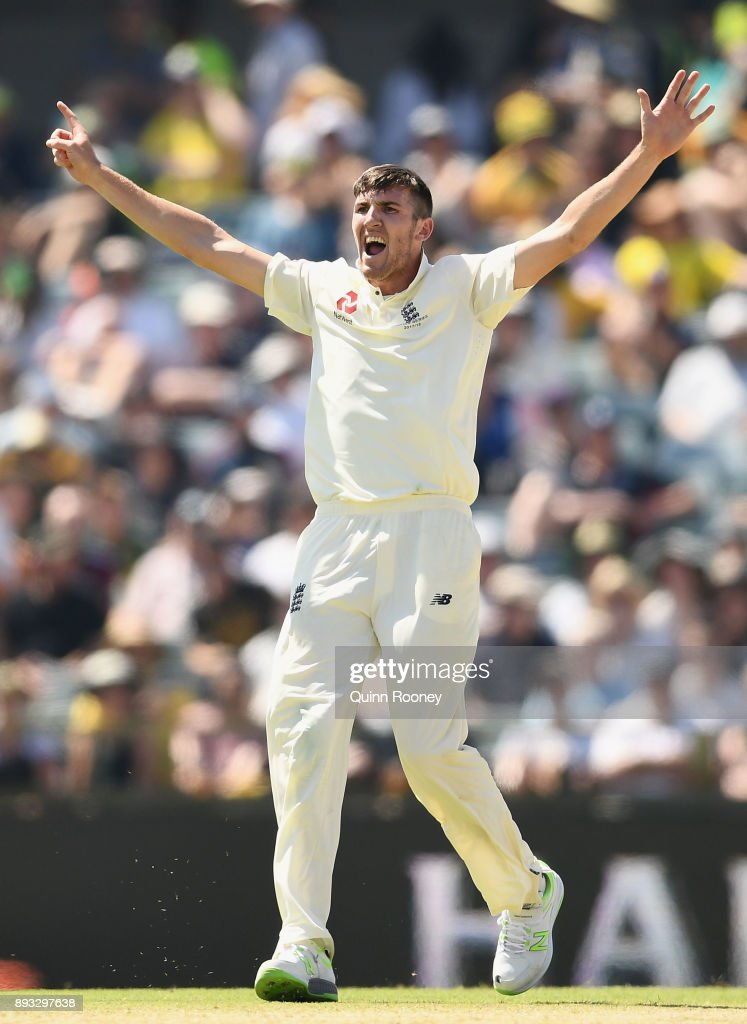 Craig Overton of England celebrates getting the wicket of Cameron Bancroft of Australia during day two of the Third Test match during the 2017/18 Ashes Series between Australia and England at WACA on December 15, 2017 in Perth, Australia.