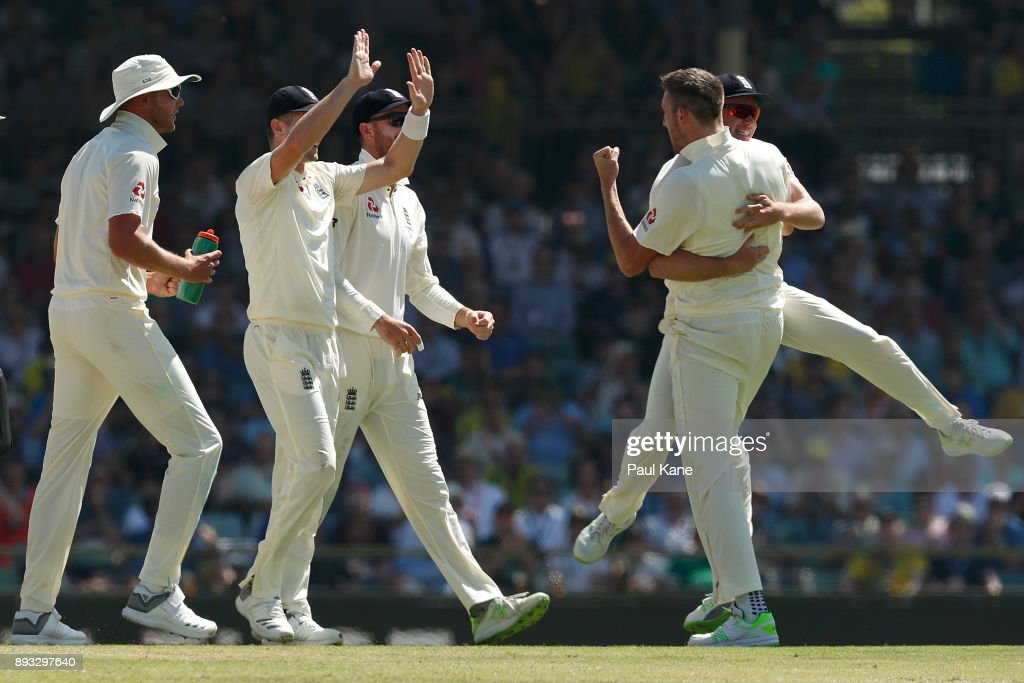 Craig Overton of England celebrates the wicket of Cameron Bancroft of Australia during day two of the Third Test match during the 2017/18 Ashes Series between Australia and England at WACA on December 15, 2017 in Perth, Australia.