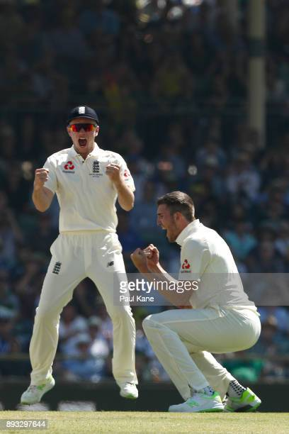 Craig Overton of England celebrates the wicket of Cameron Bancroft of Australia during day two of the Third Test match during the 2017/18 Ashes...