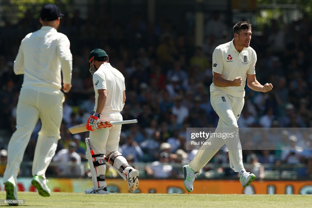 Craig Overton of England celebrates the wicket of David Warner of Australia during day two of the Third Test match during the 2017/18 Ashes Series between Australia and England at WACA on December 15, 2017 in Perth, Australia.
