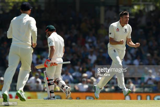 Craig Overton of England celebrates the wicket of David Warner of Australia during day two of the Third Test match during the 2017/18 Ashes Series...
