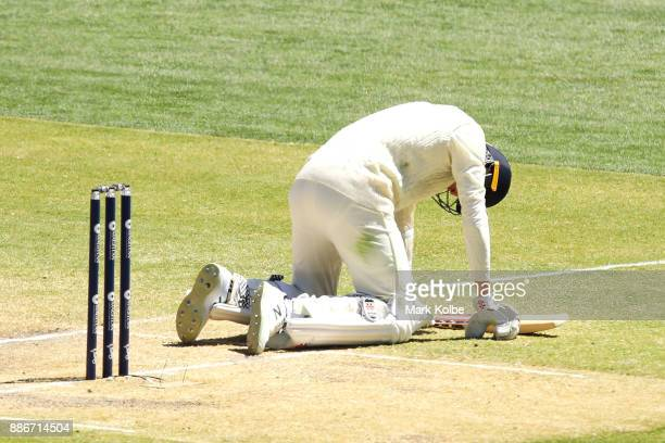 Craig Overton of England goes to the ground after being hit while batting during day five of the Second Test match during the 2017/18 Ashes Series...