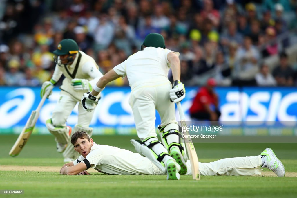 Craig Overton of England looks at Steve Smith of Australia as he runs between the wickets during day one of the Second Test match during the 2017/18 Ashes Series between Australia and England at Adelaide Oval on December 2, 2017 in Adelaide, Australia.