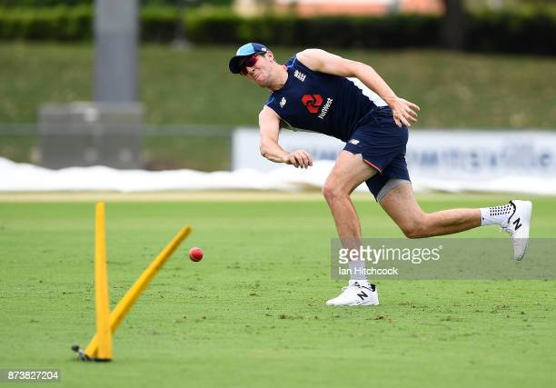 Craig Overton of England throws the ball during a fielding drill during an England nets session at Riverway Stadium on November 14 2017 in Townsville...