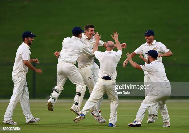 Craig Overton of MCC celebrates taking the wicket of James Harris of Middlesex during day three of the Champion County match between Marylebone...