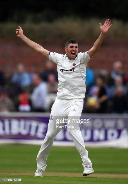 Craig Overton of Somerset appeals for the wicket of Alex Davies of Lancashire during Day One of the Specsavers County Championship Division One match...