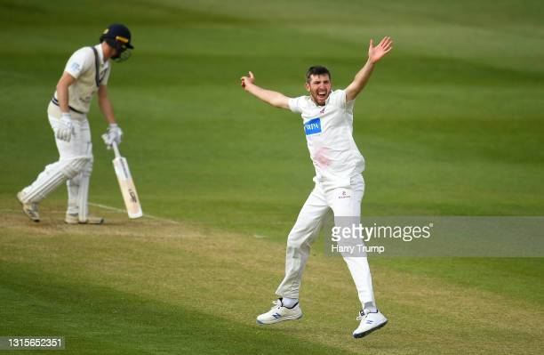 Craig Overton of Somerset appeals successfully for the LBW of Robbie White of Middlesex during Day Three of the LV= Insurance County Championship...