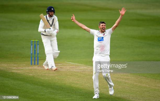 Craig Overton of Somerset appeals successfully for the LBW of Steven Finn of Middlesex during Day Three of the LV= Insurance County Championship...