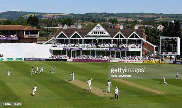 Craig Overton of Somerset bowls Liam Norwell of Warwickshire during Day Two of the Specsavers County Championship match between Somerset and...