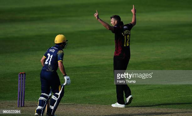 Craig Overton of Somerset celebrates after dismissing Andrew Salter of Glamorgan during the Royal London OneDay Cup match between Somerset and...