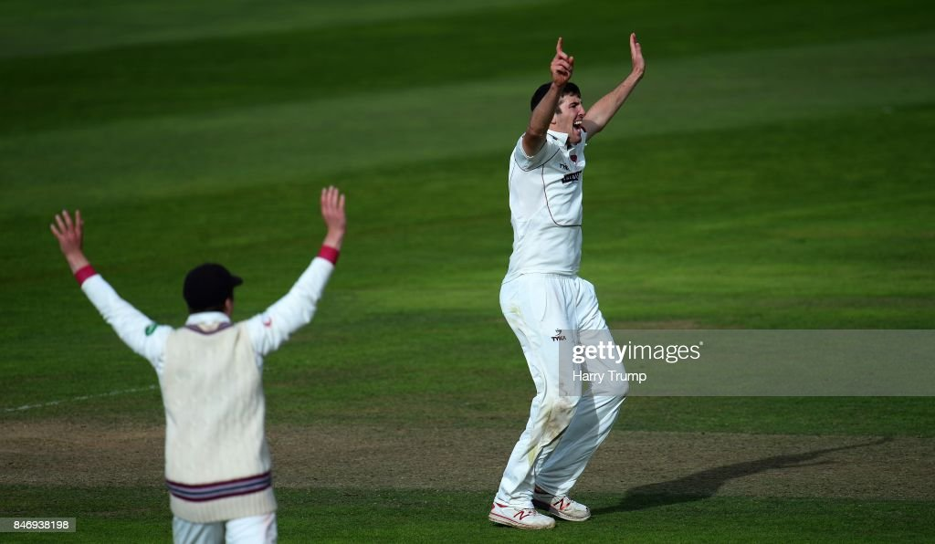 Craig Overton of Somerset celebrates after dismissing Dane Vilas of Lancashire during Day Three of the Specsavers County Championship Division One match between Somerset and Lancashire at The Cooper Associates County Ground on September 14, 2017 in Taunton, England.