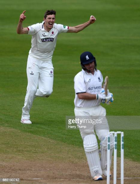 Craig Overton of Somerset celebrates after dismissing Ian Bell of Warwickshire during Day One of the Specsavers County Championship Division One...