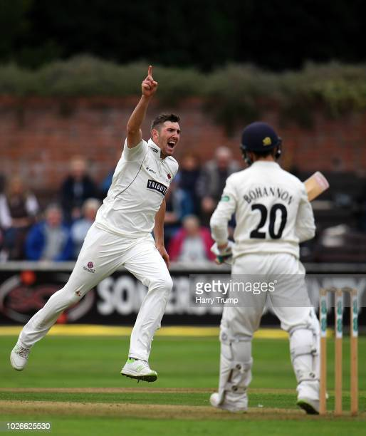 Craig Overton of Somerset celebrates after dismissing Josh Bohannon of Lancashire during Day One of the Specsavers County Championship Division One...
