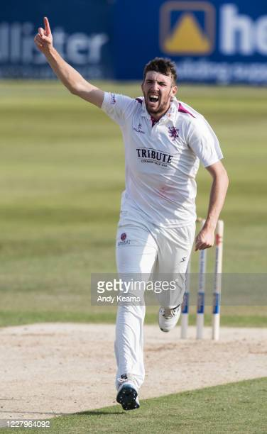Craig Overton of Somerset celebrates after taking the wicket of Adam Rossington of Northamptonshire during day one of the Bob Willis Trophy match...