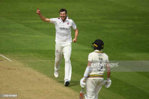 Craig Overton of Somerset celebrates after taking the wicket of Josh Shaw of Gloucestershire during Day Four of the Bob Willis Trophy match between...