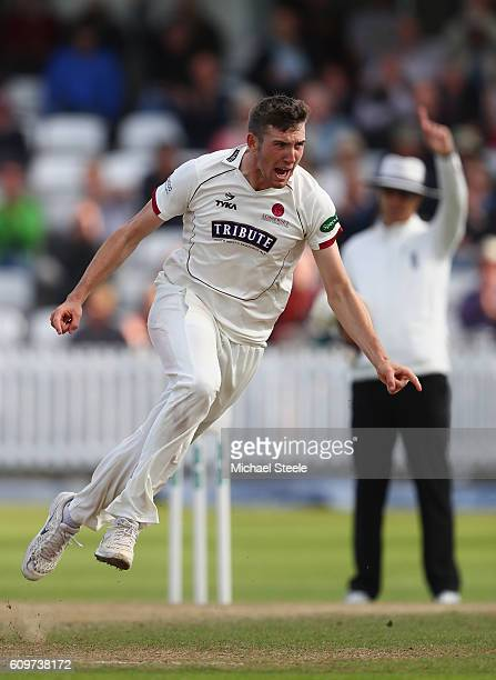 Craig Overton of Somerset celebrates after taking the wicket of Samit Patel of Nottinghamshire during day three of the Specsavers County Championship...