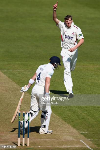 Craig Overton of Somerset celebrates taking the wicket of Andrew Hodd of Yorkshire during day two of the LV County Championship match between...