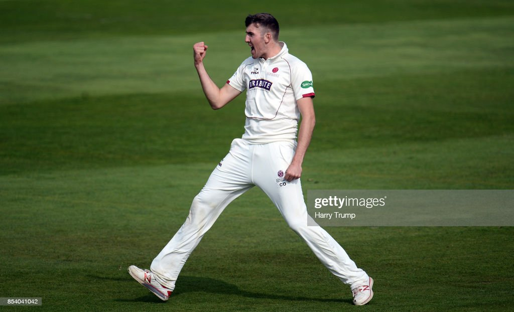 Craig Overton of Somerset celebrates the wicket of James Harris of Middlesex during Day Two of the Specsavers County Championship Division One match between Somerset and Middlesex at The Cooper Associates County Ground on September 26, 2017 in Taunton, England.