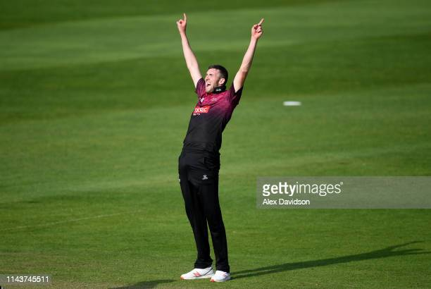 Craig Overton of Somerset celebrates the wicket of Matt Miles of Kent during the Royal London One Day Cup match between Somerset and Kent at The...