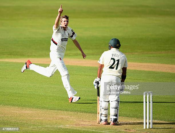 Craig Overton of Somerset celebrates the wicket of Samit Patel of Nottinghamshire during the LV County Championship match between Nottinghamshire and...