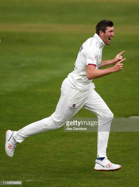 Craig Overton of Somerset celebrates the wicket of Scott Borthwick of Surrey during Day Three of the Specsavers County Championship match between...
