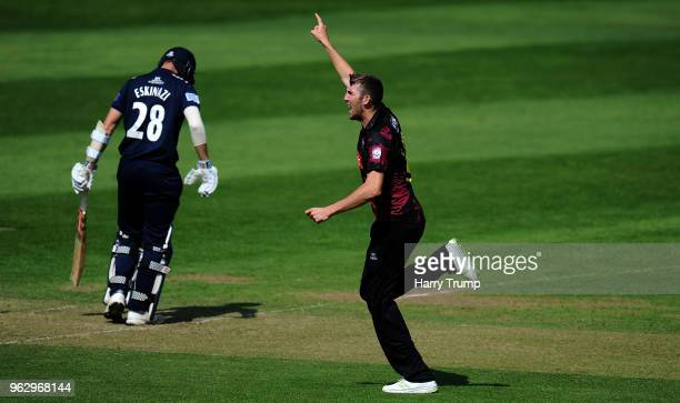 Craig Overton of Somerset celebrates the wicket of Steven Eskinazi of Middlesex during the Royal London OneDay Cup match between Somerset and...