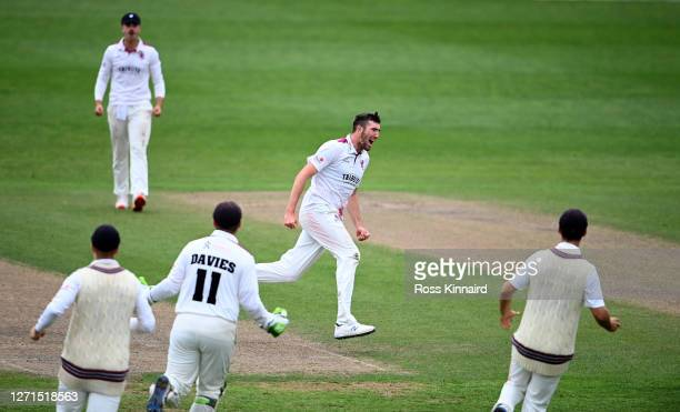 Craig Overton of Somerset celebrates trapping Brett D'Oliveira of Worstershire LBW for 28 during the forth day of the Worcestershire v Somerset - Bob...