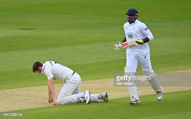 Craig Overton of Somerset reacts after bowling to Keith Barker of Hampshire during day four of the LV= Insurance County Championship match between...