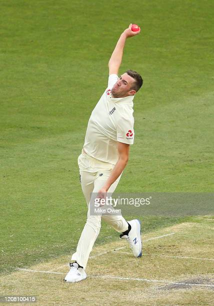 Craig Overton of the England Lions bowls during the Four Day match between Australia A and the England Lions at Melbourne Cricket Ground on February...