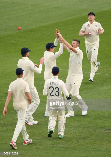 Craig Overton of the England Lions celebrates after dismissing Nic Maddinson of Australia A during the Four Day match between Australia A and the...